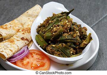 gombo, masala, imbottito, indiano, verdura, o, bhindi