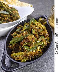 gombo, piastra, masala, space., imbottito, indiano, verdura,...