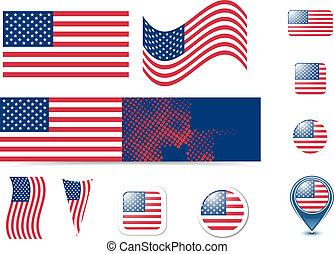 gombok, egyesült államok, lobogó, egyesült, amerika