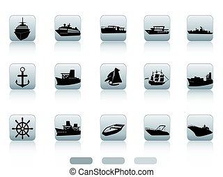 gombok, hajó, állhatatos, csónakázik, ikon