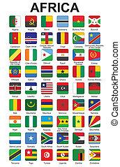 gombok, noha, afrikai, országok, lobogó