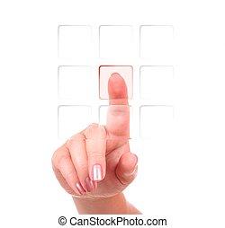 gombok, nyomás, kéz, női, egy