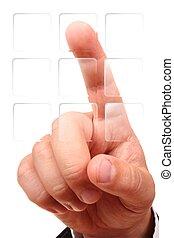 gombok, nyomás, kéz, (transparent), egy