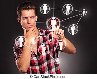 gombok, rámenős, networking, kényelmes, ember
