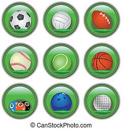 gombok, sport, zöld