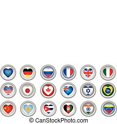 gombok, szív, zászlók, alakú