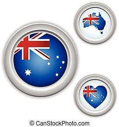 gombok, térkép, lobogó, ausztrália, szív