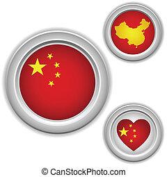 gombok, térkép, lobogó, szív, kínai