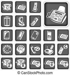 gombok, telefon, egyenesen