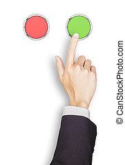 gombok, tető, kéz, zöld, üzletember, piros, kilátás
