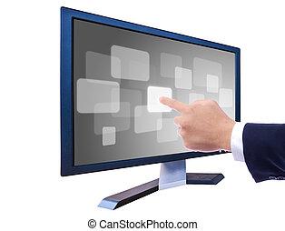 gombolódik tol, lcd, monitor, kéz