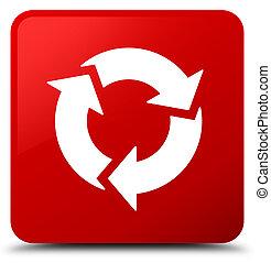 gombol, derékszögben, felfrissít, piros, ikon