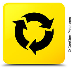 gombol, derékszögben, felfrissít, sárga, ikon