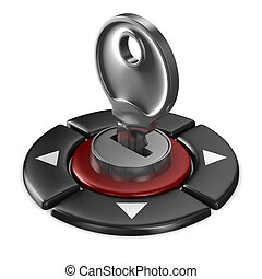 gombol, elszigetelt, háttér, kulcs, fehér, kép, piros, 3