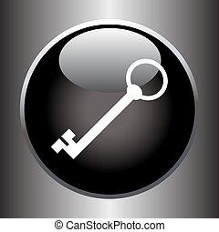 gombol, fekete, kulcs icon