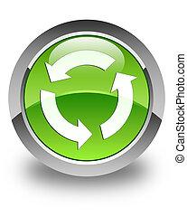 gombol, felfrissít, zöld, sima, kerek, ikon
