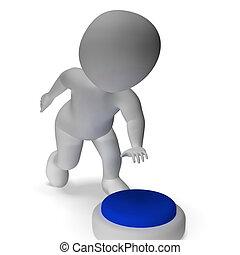 gombol, megnyomott, által, 3, ember, jelentés, elindít,...