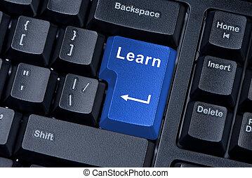 gombol, tanul, computer billentyűzet, fogalom, közül,...