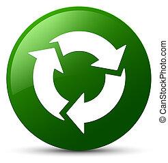 gombol, zöld, kerek, felfrissít, ikon