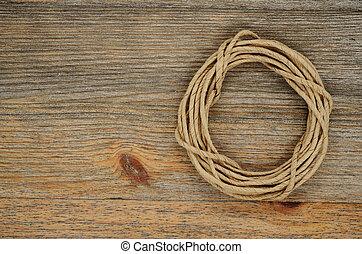 gombolyag, fából való, felett, struktúra, ovális, packthread