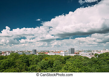 Gomel Belarus. Top Aerial View Of Cityscape And...