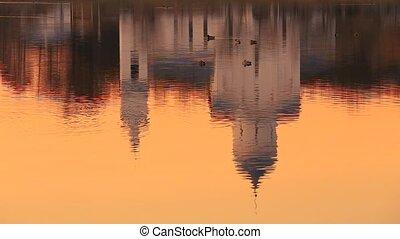 Gomel, Homiel Belarus. Reflections In Water Of St. Alexander...