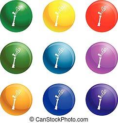 gomito, set, stampella, vettore, icone