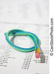 gomma, matita, verde, torto, nodo