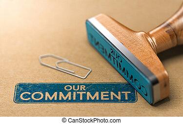 gomma, nostro, impegno, concetto, francobollo