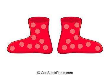 gomma, punteggiato, stivali, isolato, gumboots, fondo, bianco, cartone animato, rosso