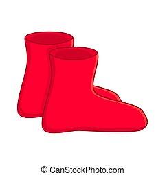 gomma, semplice, stivali, isolato, gumboots, fondo, bianco, cartone animato, rosso
