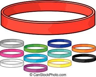 gomma, set, colorito, braccialetti