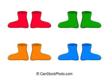 gomma, set, semplice, stivali, isolato, gumboots, fondo, bianco, cartone animato