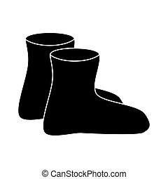 gomma, silhouette, semplice, stivali, isolato, gumboots, fondo, bianco, cartone animato