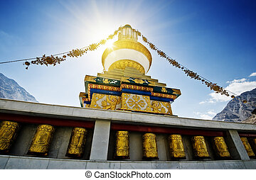 gompa - Tibetan gompa in sunbeam light