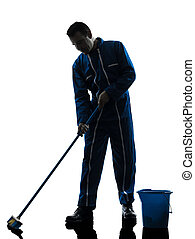 gondnok, tisztító, árnykép, takarítás, ember