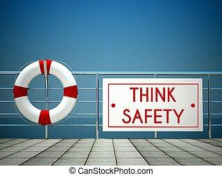 gondol, biztonság, aláír, -ban, a, uszoda, mentőbólya