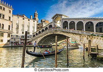 gondola, -ban, rialto bridzs, velence