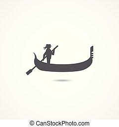 Gondola flat icon - Gondola icon on white background