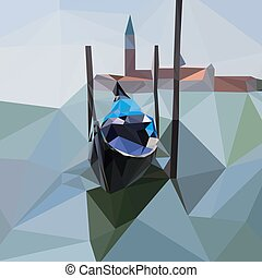 Gondola floats on the water in Venice, Italy. Abstract low poly vector illustration