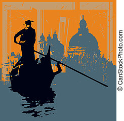 Illustration of a Gondala against a grunged image of Salute Basilica in Venice