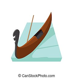 Gondola icon, cartoon style