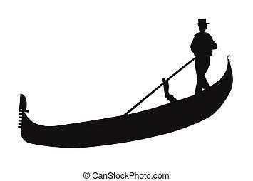 gondola with gondolier in silhouette