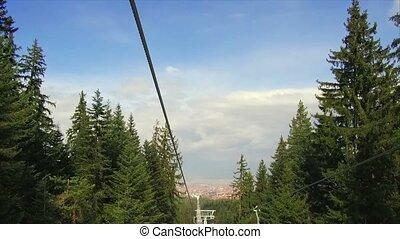 Gondola in the mountains - Bulgaria. Bansko.11 March 2017....