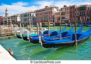 Gondola in Venice - Gondola boats on Grand Canal in Venice,...