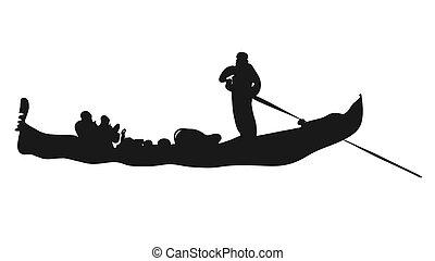 Gondola, Italian Love Taxi Sihouette. Hand-drawn Vector Sketch