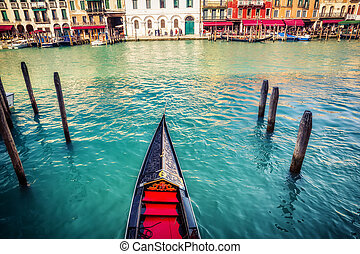 Gondola on Grand canal in Venice