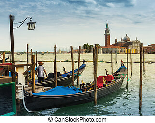 Gondola on the canals of Venice. Italy