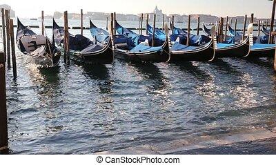 gondola on Venetian Lagoon - gondola in the sea of Venice...