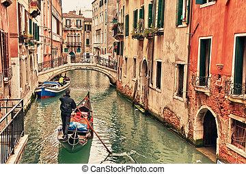 gondola, op, vaart, in, venetie